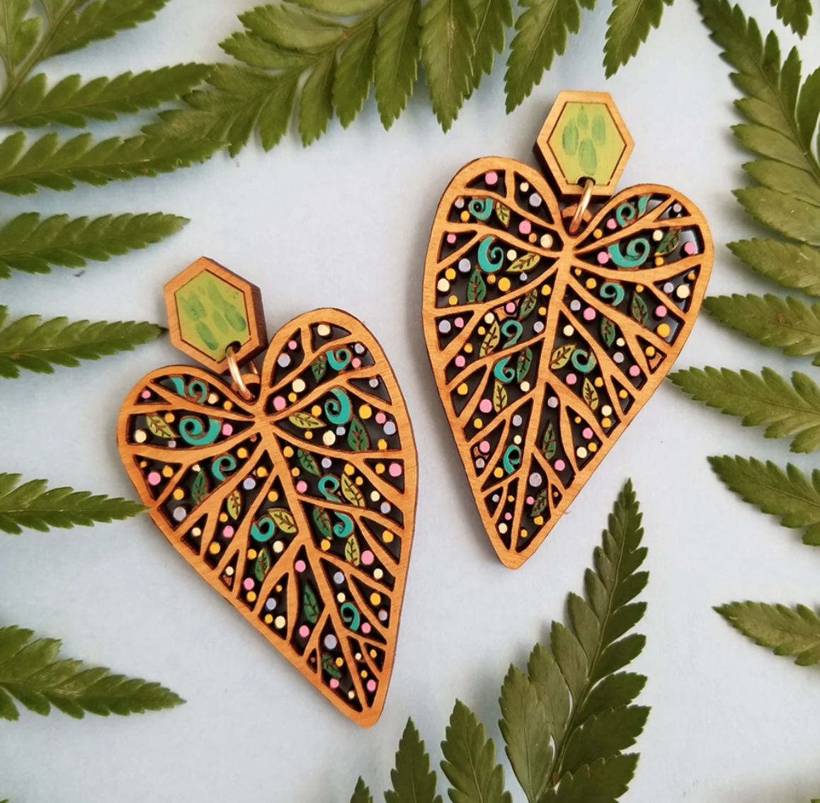 rylee and ink leaf statement earrings