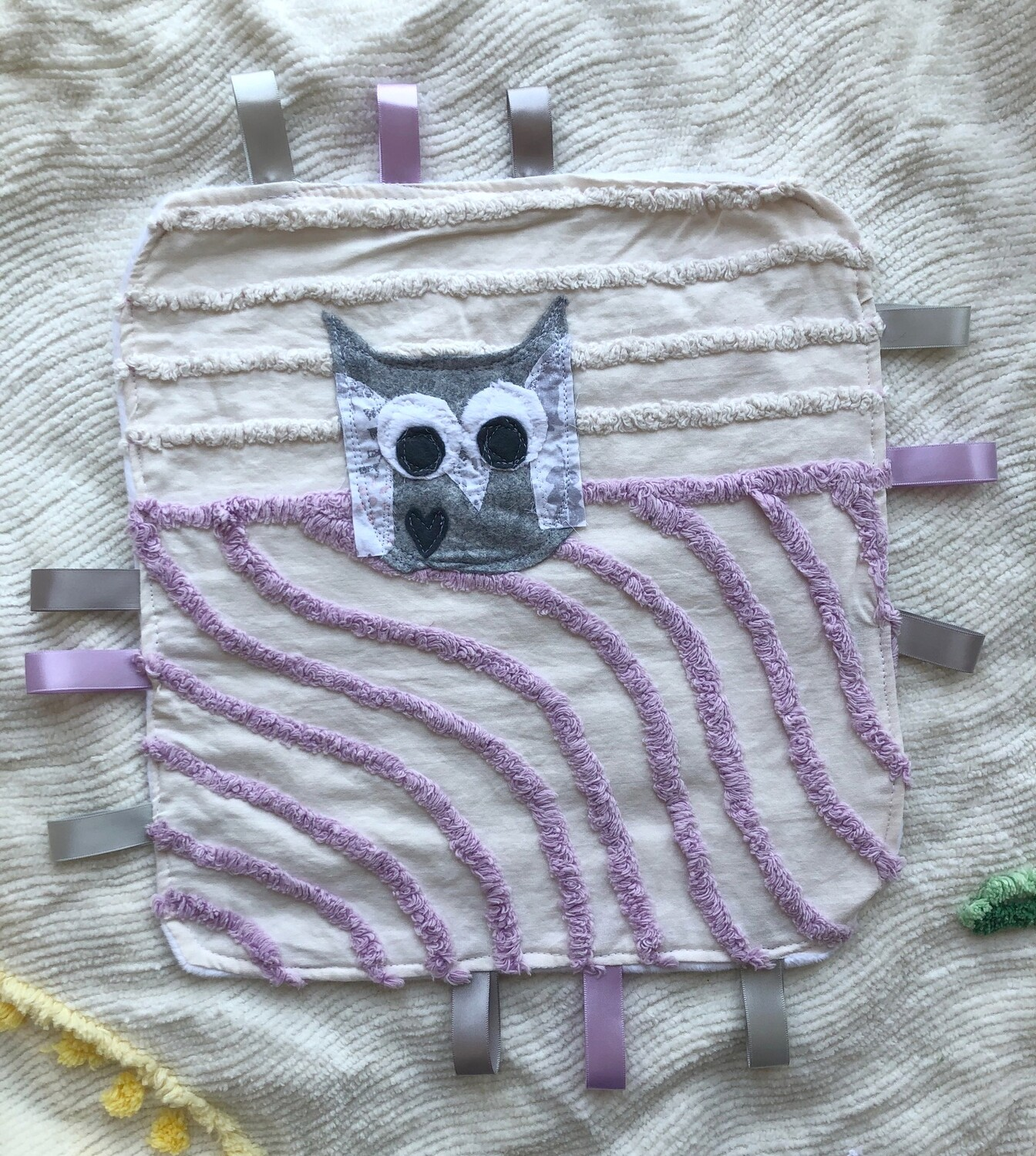 Moxie & Zab - Tag-a-Long Blanket ~ Grey Owl on White and Purple Chenille