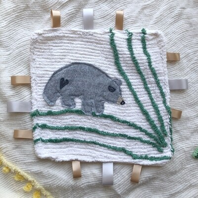Moxie & Zab - Tag-a-Long Blanket ~ Grey Bear on Cream and Green Chenille