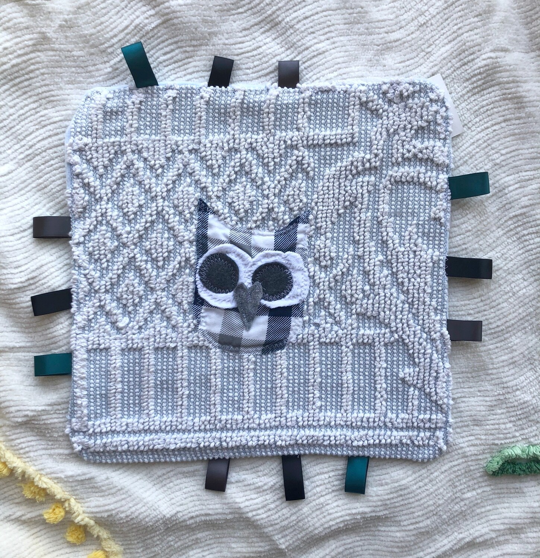 Moxie & Zab - Tag-a-Long Blanket ~ Plaid Owl on Blue Chenille