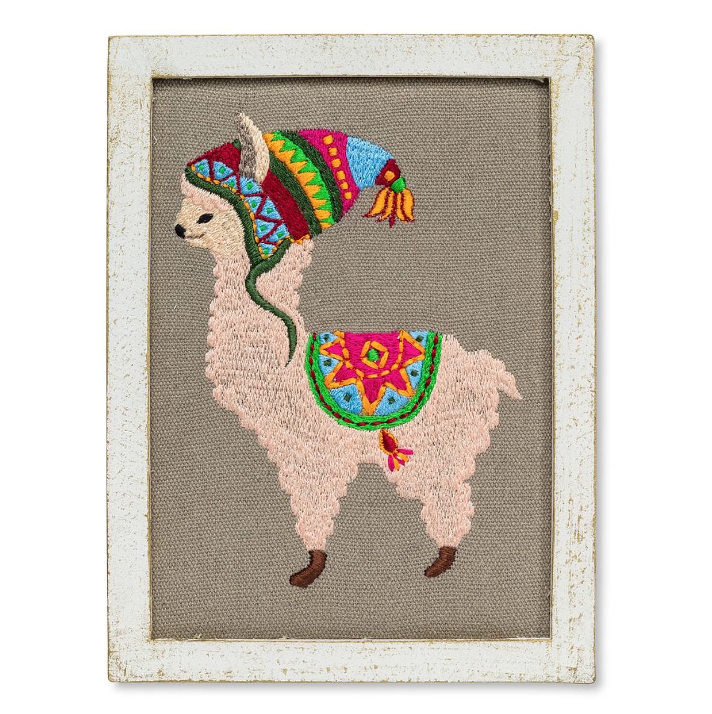Llama Embroidered Wall Art