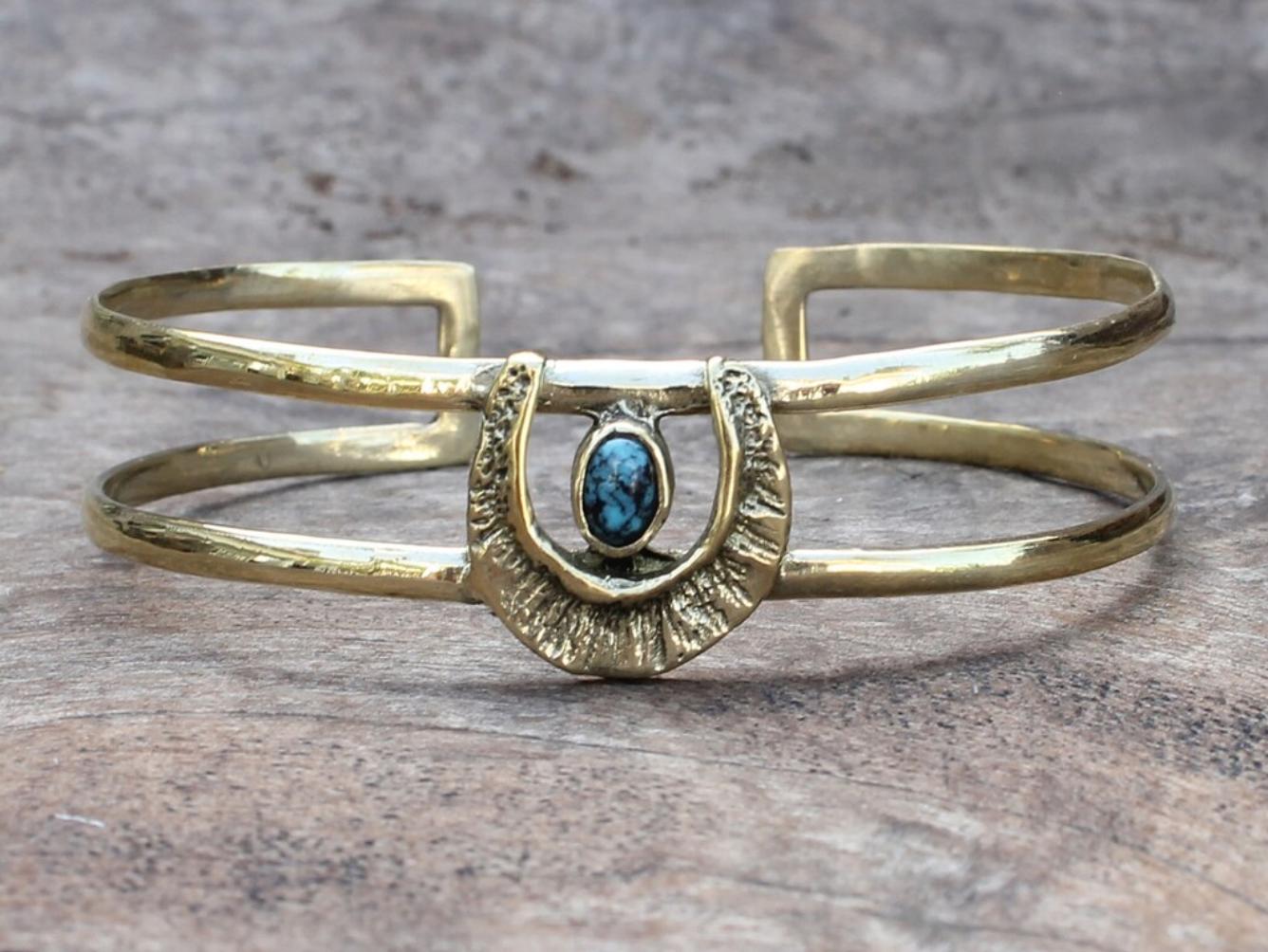 Bauxo Revere Brass Bracelet with Turquoise