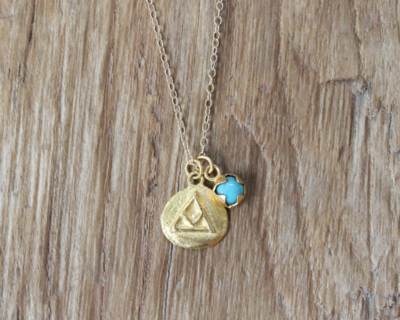 Bauxo ~ Talisman Gold Necklace with Turquoise