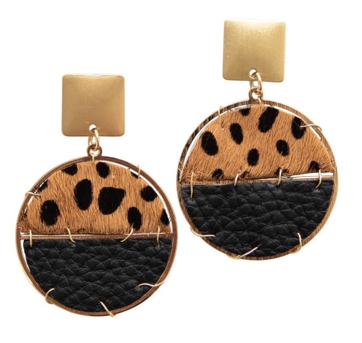 Michelle McDowell Cheetah and Leather Earrings