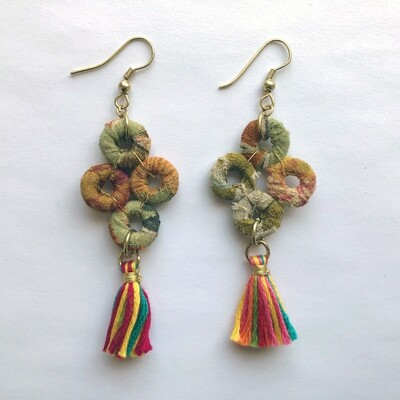 The Honest Bead ~ Clustered Circle Beaded Earrings with Tassel