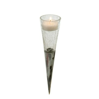 Clear Crackle Cone Votive