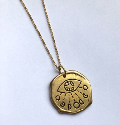 Tamara Steinborn ~ Evil Eye with Moon Cycle Wax Seal Necklace