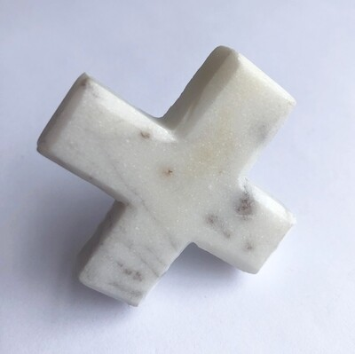 White Marble Cross knob
