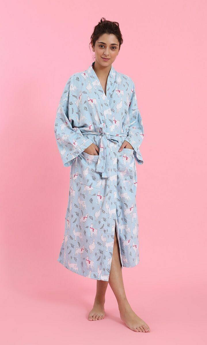 Llama Flannel Robe