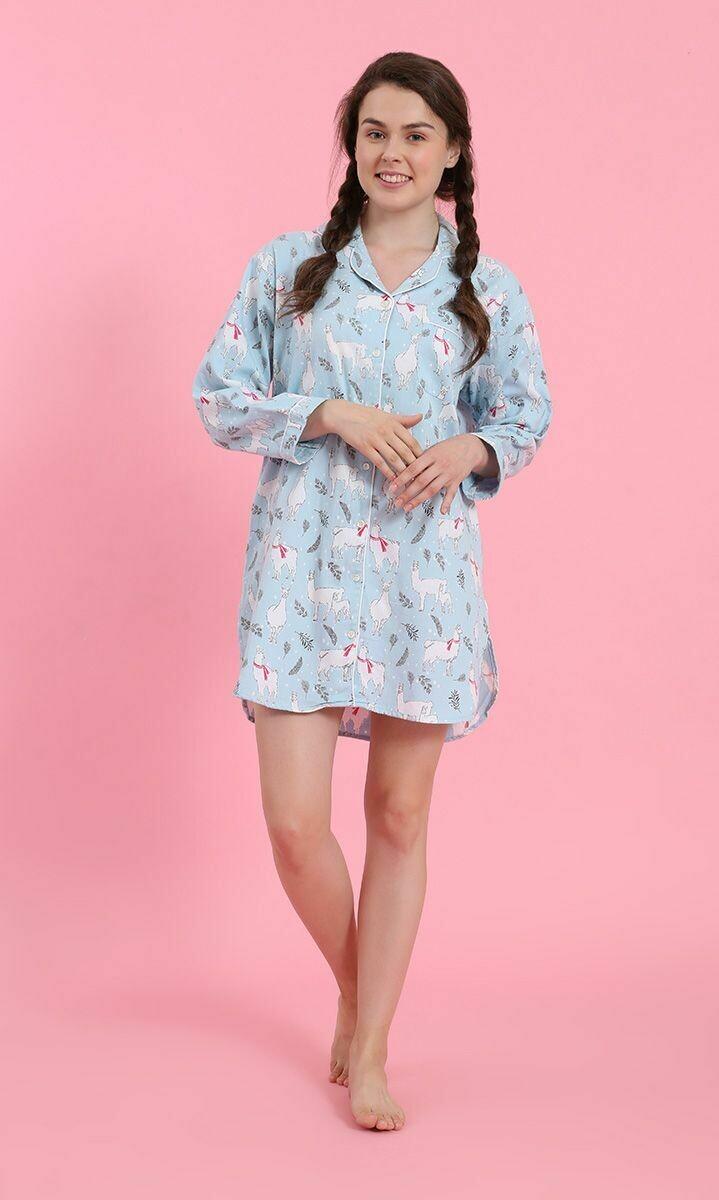 Llama Flannel Nightshirt