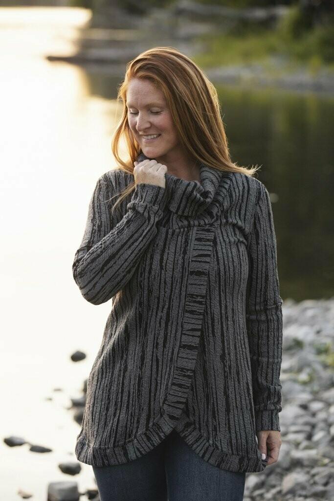 Blondie ~ Birch Cross Front Sweater in Dark Grey