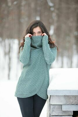 Blondie ~ Heirloom Cross Front Sweater in Green