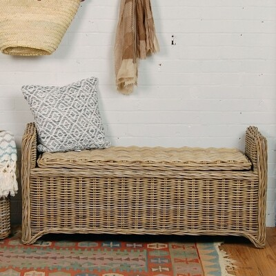 Rattan Bench with Arms
