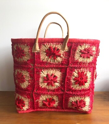 Madagascar Basket - Red Crochet
