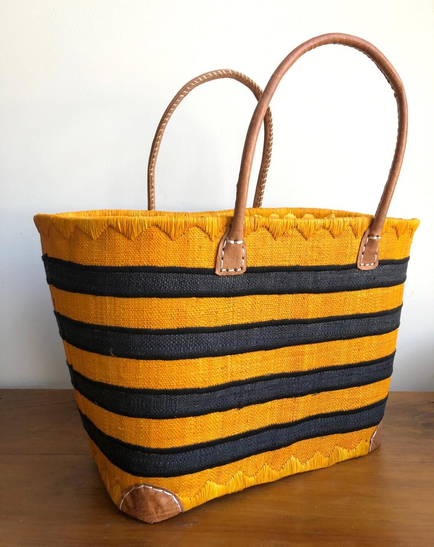 Madagascar Basket - Yellow & Black Stripe