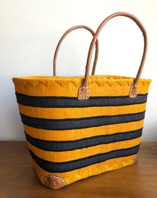 Madagascar Basket - Yellow & Black Stripe