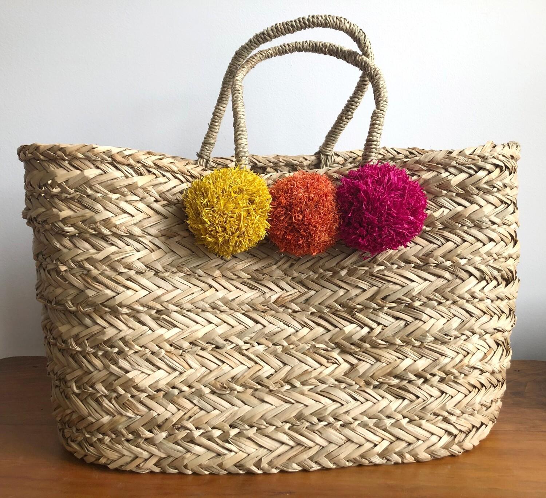 Vacay Basket with Pom Poms