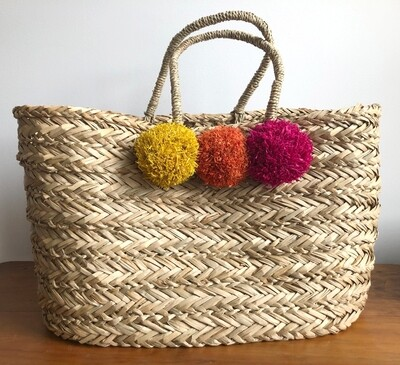 Vacay Basket with Pom Poms