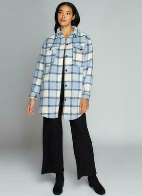 Button Down Plaid Coat O/S