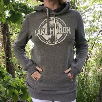 Here On Lake Huron Ladies Tunic Hoodie