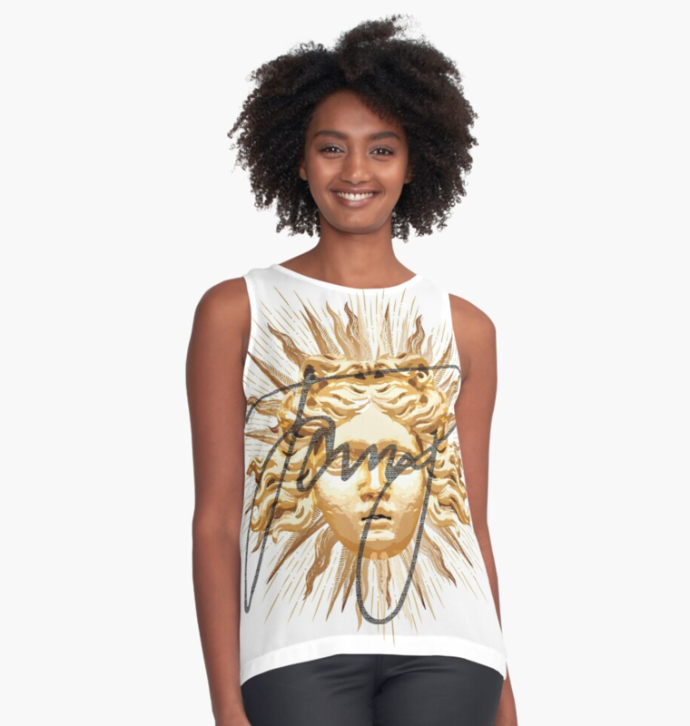 Masked Sun King Sleeveless Verso Blouse