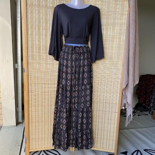 Peasant frill maxi skirts