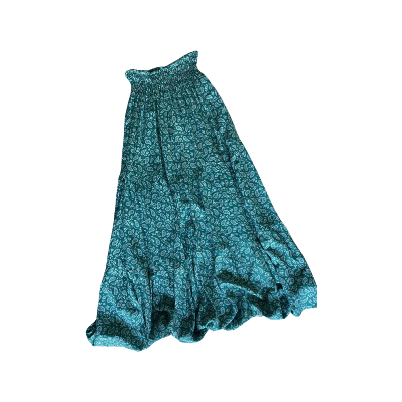 Green Peasant Maxi Skirt - With Pockets