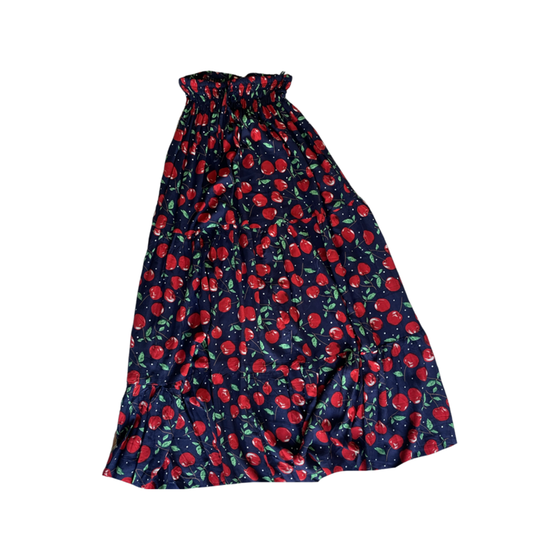 Cherry Peasant Maxi Skirt - With Pockets