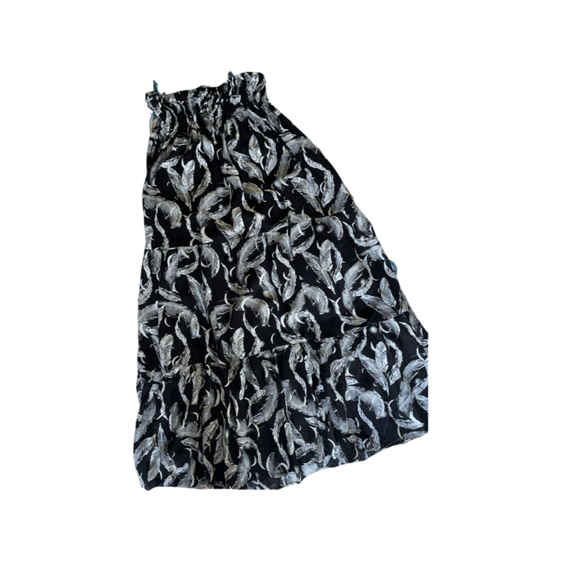 Black Feather Peasant Maxi Skirt - With Pockets