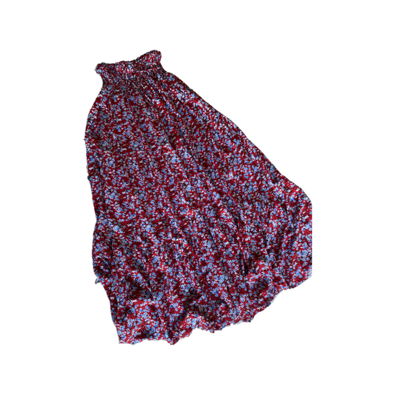 Red Floral Peasant Maxi Skirt - With Pockets