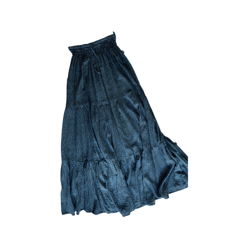 Blue Leopard Peasant Maxi Skirt - With Pockets