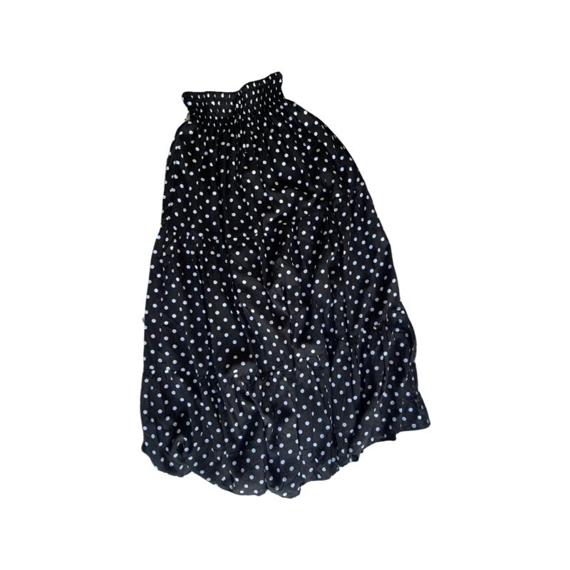 Polkadot Peasant Maxi Skirt - With Pockets