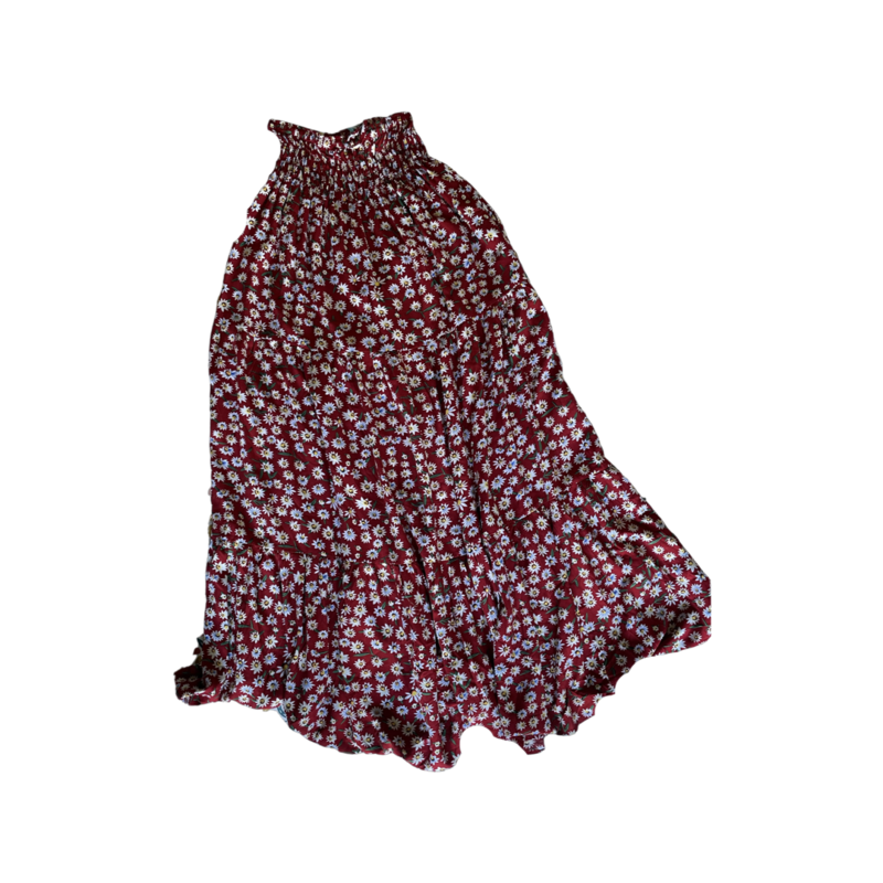 Red Daisy Peasant Maxi Skirt - With Pockets