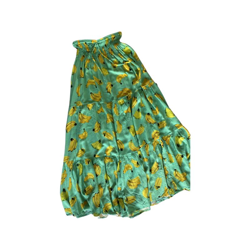 Banana Fun Peasant Maxi Skirt - With Pockets