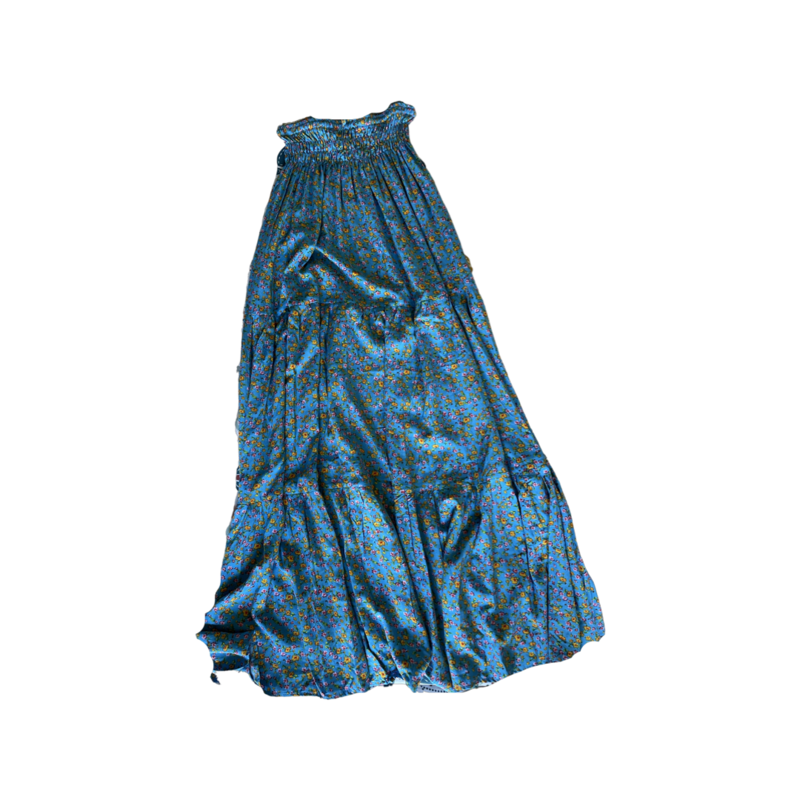 Sky Floral Peasant Maxi Skirt - With Pockets