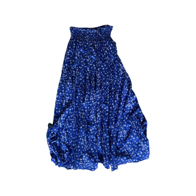 Blue Daisy Peasant Maxi Skirt - With Pockets