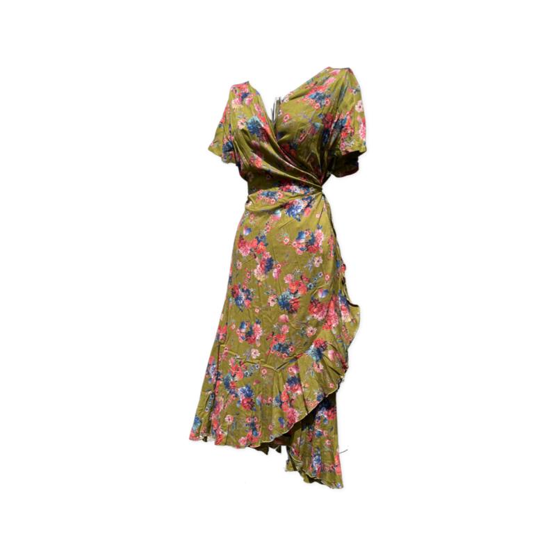 Freya wrap dress -knee length - LimeFloral Lrg/XL