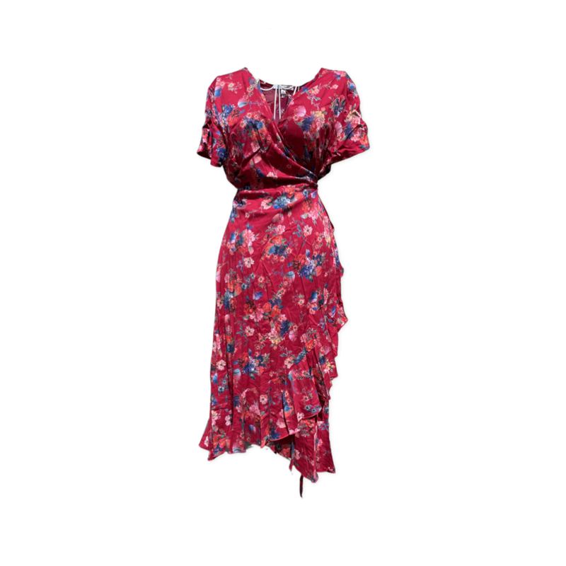 Freya wrap dress -knee length - PinkFloral - Lrg/XL