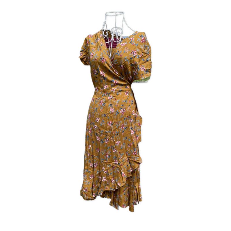 Freya wrap dress -knee length - Mustard Flower - Sm/M