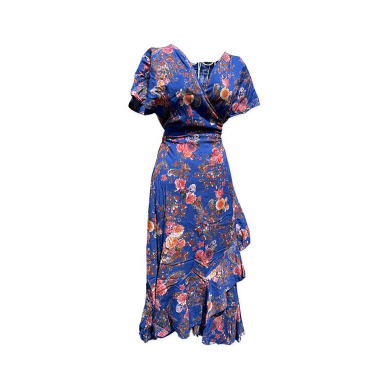 Freya wrap dress -knee length - BlueFloral - Sm/M