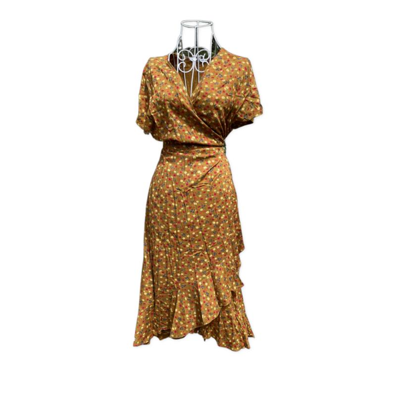 Freya wrap dress -knee length - MustardFloral - Lrg/XL
