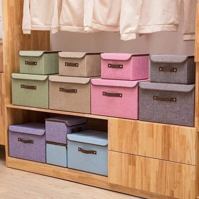 Cloth Foldable Storage Boxes (2-pcs)