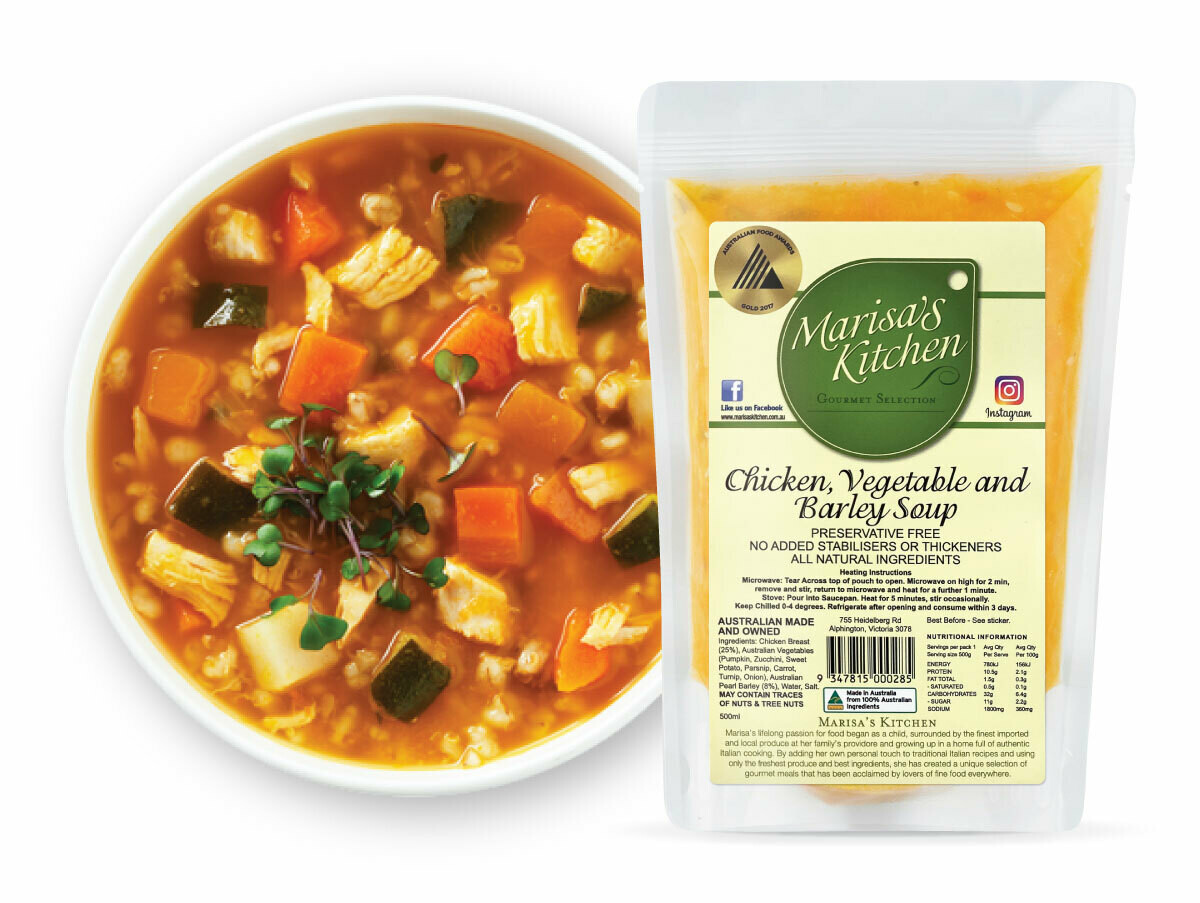 Chicken, Vegetable and Barley Soup (500ml)