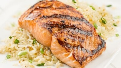 Fish, 4oz. Grilled Salmon Filet,on a bed of wild rice pilaf, single serve