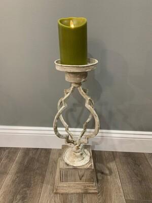 Wood & Metal Quatrefoil Candleholder Sm.