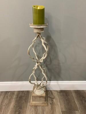 Wood & Metal Quatrefoil Candleholder Lg.