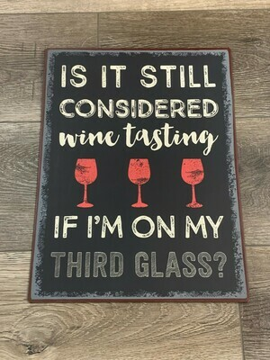 Wine Tasting Metal Sign
