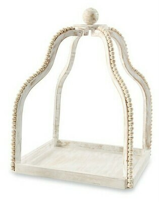 Whitewashed Beaded Lantern Lg