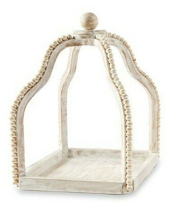Whitewashed Beaded Lantern Sm
