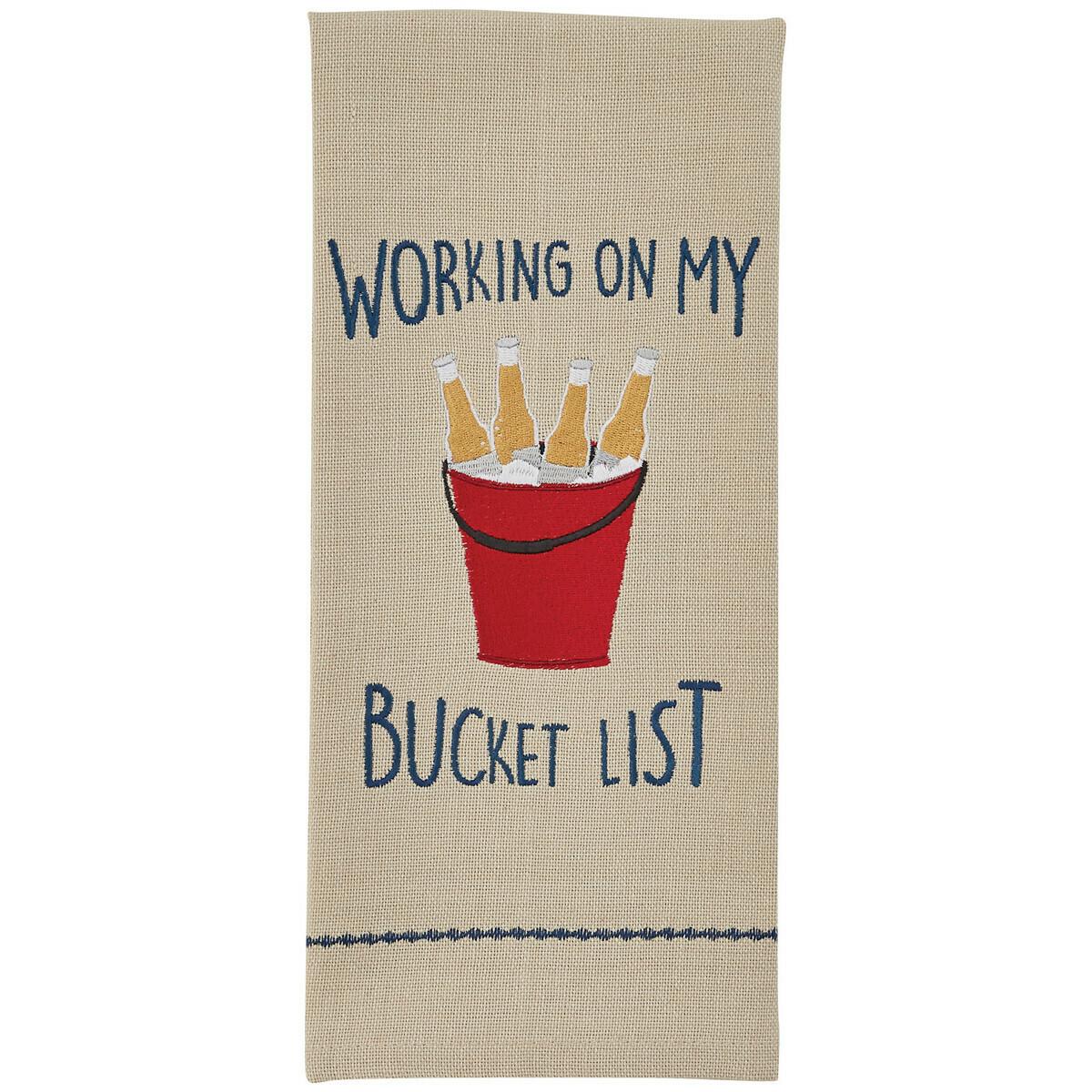 Bucket List Embroidered Dish Towel